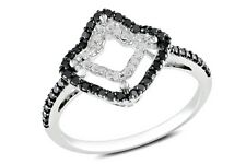 ICE  1/3 Carat Black & White Diamond 14K White Gold Ring with Black Rhodium