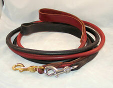 4 foot Rolled Leather Dog Leash Lead Brown/brass Black/Stainless Amish Made