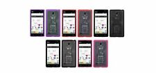 for LG Optimus L9 Gummy Clear Transparent with Kick Stand Cell Phone Case Cover