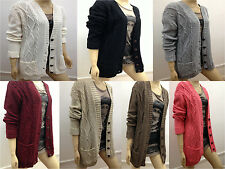 New Elegant Womens Grandad Style Cable Knitted Ladies Cardigan Long Sleeve