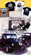 Route 66 Map Eagle Vintage Motor Cars Purple Hot Rods Classic Graphic T-Shirts