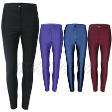 Womens Ladies Shiny American Disco High Waist Trousers Pants Leggings Sizes 6-14