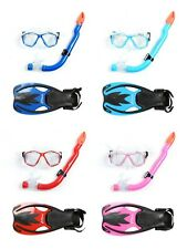 New Two Bare Feet Kids 3PC Snorkel Mask and Fin Set + Free Carry Case