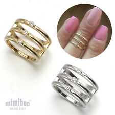 Crystal Accent 3 Three Row Line Over The Midi Tip Finger Above The Knuckle Ring