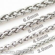 "WHOLESALE LOT 4MM 16""~30"" MENS Silver Stainless Steel Twist Chain Necklaces"