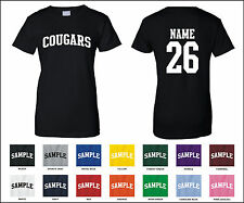 Cougars Custom Personalized Name & Number Woman's T-shirt