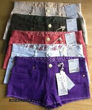 Ladies Womens Girls Ripped Bottom Jeans Denim Shorts Hot Pants