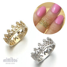 Heart Tiara shaped Top of Finger Over The Midi Tip Finger Above Knuckle Ring