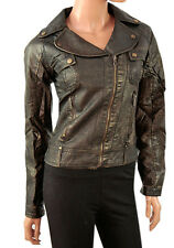 New Biker Jacket in Faux Leather with Assymetrical Zip