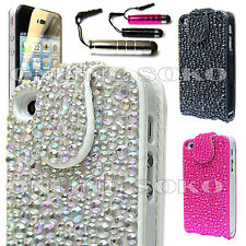 LUXURY BLING CRYSTAL DIAMOND FLIP POUCH CASE COVER FREE STYLUS FOR MOBILE PHONES