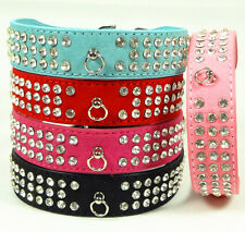 5 Color Suede Leather Pet Dog Collars 3 Rows Crystal Rhinestone Pet Dog Collar
