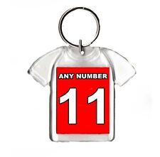 Personalised Football Team T Shirt Style Keyring, Any Number, Name Can Be Added