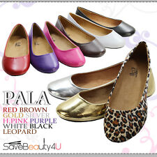 NEW FASHION WOMENS CUTE CASUAL COMFORT ROUND TOE SLIP ON BALLET FLAT SHOES -PALA