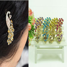 4 Color Retro Crystal Rhinestone Peacock Hairpin Hair Barrette Side Hair Clip On