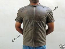 NEW GENUINE Leather Handmade MENS Shirt Fancy Costume Wear ANTIQUE BROWN COLOUR