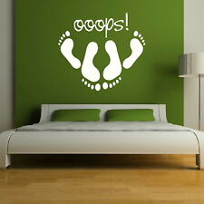 Funny Oops Bedroom Sticker / Large Wall Decal / Bedroom Art Quote Transfer RA166
