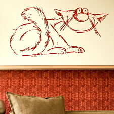 Old Cartoon Cat - House Cat Transfer / Removable House Cat Wall Sticker CA19