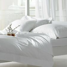 1000TC Branded White Sheet Solid + Stripe Pattern With 6 Bed Sizes & Fit Pockets