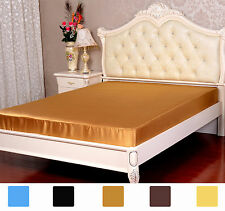 """1 PC 22MM HEAVY WEIGHT 100% PURE SILK SATIN 14"""" POCKET FITTED SHEET ALL SIZE"""
