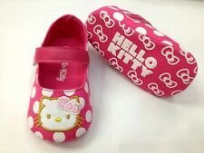 New HELLO KITTY Soft Sole Baby Girl PINK POLKA Mary Jane Crib Shoe. Age 0-12 Mth