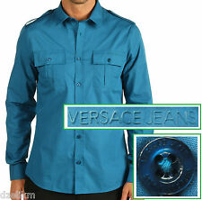 NWT Versace Jeans by Gianni Versace LOGO Double Chest Pocket Slim Fit Shirt