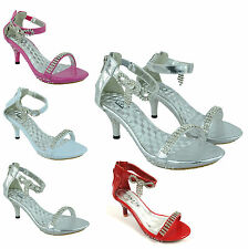 GIRLS PARTY WEDDING CHRISTENING KITTEN HEEL PLATFORM SANDALS SHOES SIZE 11 TO 4