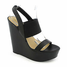 Ankle Strap Wedge Wooden Black Soda Case Womens Shoes PU-Leather Open Toe