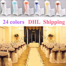 200PCS Organza Chair Sashes Bow Wedding Cover Banquet FREE  SHIPPING BY DHL