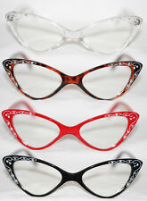 Cat Eye Clear Lens Glasses Rockabilly red tortoise black Retro Rhinestone 50's