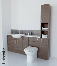 GREY BROWN BATHROOM FITTED FURNITURE 2000MM TALL BOY