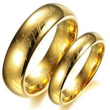The Lord Of The Rings Gold Pure Tungsten Steel Rings Bands Couple Love Gifts