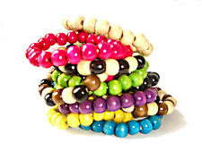 CHUNKY HAND MADE BEADY SURFER ELASTIC TRIBAL WOODEN BRACELET WITH 10MM BEADS
