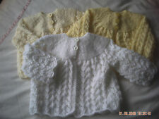 Hand Knitted Baby Cardigan/Coat With Lacy Pattern Size 0-3 Months.
