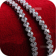 18k white gold gp sparkling simulated diamond bracelet