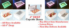 """4"""" Deep Muffin Boxes. Choose your Colour, Size & Qty. Direct from Manufacturer"""