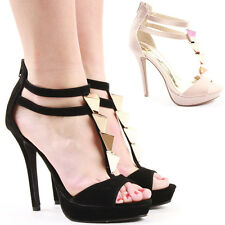 Ladies Party Platform High Heels Bridal Sandals Wedding Evening Shoes Size