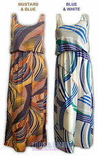 WOMENS SLEEVELESS SCOOP NECK MULTICOLOUR GEOMETRIC PRINT MAXI DRESS SIZE 8-14 UK