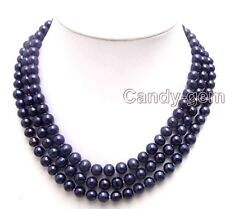 "SALE 7-8mm Black AA Round Natural freshwater Pearl 3 Strand 18-20"" Necklace-2151"