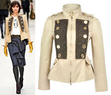 Khaki Military Tweed Patch Gold Button Peplum Jacket Trentch Double-Breasted