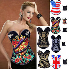 Sexy Women Overbust Boned Corset Basques Bustier Bodysuit Without Thong S-XXL