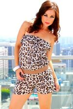 New Junior's Cute Leopard Animal Print Ruffled Romper Women's Jumpsuit Boutique