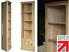 6ft Tall Solid Oak Corner Adjustable Display Bookcase Unit Cupboard