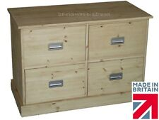 Solid Pine Wooden Filing Cabinet, 4 Drawer Contemporary A4 & Folio Foolscap Unit