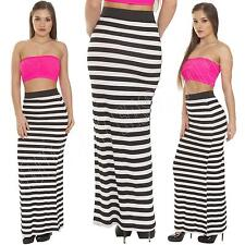 New Womens Ladies Striped Bodycon Long Tube Gypsy Maxi Skirt Dress Size 8 10 14