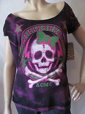 New AFFLICTION Womens Pink Black S/S Bye Bye Love Scoop Neck Knit Top Shirt $68
