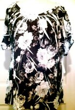 Womens Top Black White Roses Jane Ashley Wide Round Neckline Polyester NWT 2X