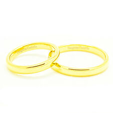 Matching 3mm Classic Domed Gold Plated Tungsten Wedding Ring Set (Sizes 3-12)