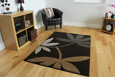 Brown Beige Floral Modern Rugs Small Large Easy Clean Soft Living Room Rug Cheap