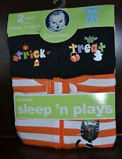 NWT Gerber 2 pack zip front HALLOWEEN sleepers sleep n' play 0-3 months 3-6