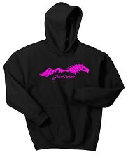 JUST RIDE HORSE LADIES HOODIE SWEAT SHIRT PONY COW GIRL SADDLE TACK EQUESTRIAN